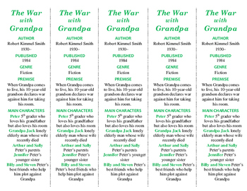 The War with Grandpa ed. of Bookmarks Plus: Fun Freebie/Handy Reading Aid!