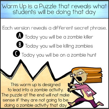The Warm Up To... Graphing Lines and Killing Zombies