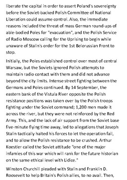 The Warsaw Uprising Handout