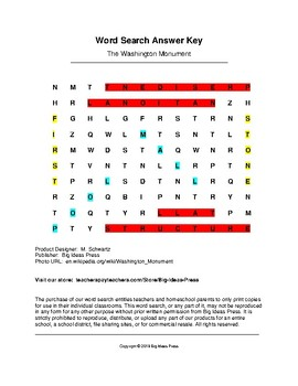 The Washington Monument Word Search (Grades 1-2)