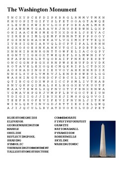 The Washington Monument Word Search