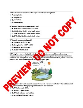 The Water Cycle NGSS Science Assessment