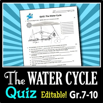 The Water Cycle - Quiz {Editable}