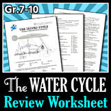 The Water Cycle - Review Worksheet {Editable}