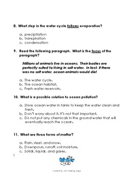 The Water Cycle by Bobbie Kalman Reading Comprehension Assessment