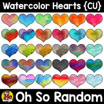 The Watercolor Series | Hearts {Clip Art for Commercial Use}