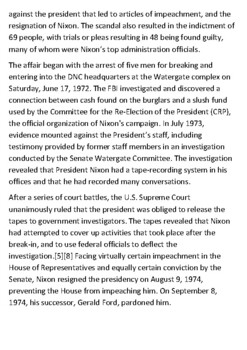 The Watergate scandal Handout