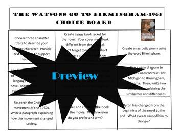The Watsons Go To Birmingham- 1963 Choice Board Tic Tac Toe Novel Activities