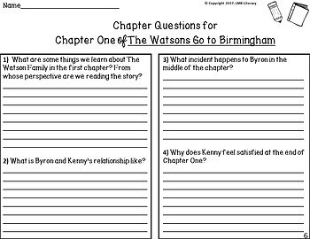 The Watsons Go To Birmingham~Comprehension, vocab, activities and answer key!
