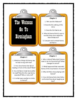 Christopher Paul Curtis THE WATSONS GO TO BIRMINGHAM- Discussion Cards
