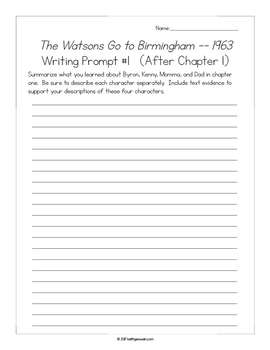 The Watsons Go to Birmingham -- 1963: 15 Writing Prompts and 15 Quizzes