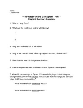 """""""The Watson's Go to Birmingham--1963"""" Chapter 2 Summary Questions"""