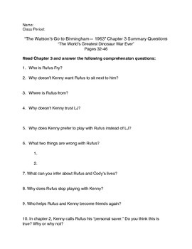"""The Watson's Go to Birmingham--1963"" Chapter 3 Summary Questions"