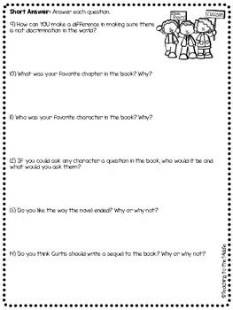The Watsons Go to Birmingham- 1963 Epilogue Reading Comprehension Questions