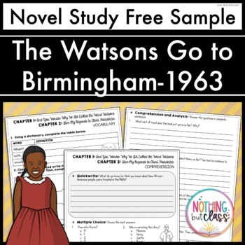 The Watsons Go to Birmingham-1963 Novel Study FREE Sample