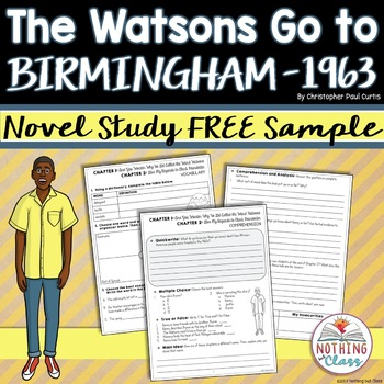The Watsons Go to Birmingham 1963 Novel Study FREE Sample