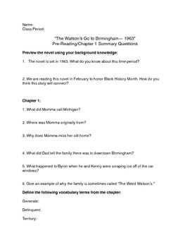 """""""The Watson's Go to Birmingham-- 1963"""" Pre-Reading/Chapter 1 Summary Questions"""