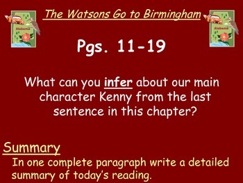 The Watsons Go to Birmingham - 1963 Reading Response Questions