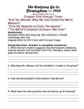 The Watson's Go to Birmingham-1963 Study Guide