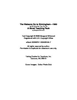The Watsons Go to Birmingham 1963   Chapter Summaries and Objective Tests