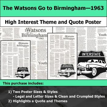 The Watsons Go to Birmingham 1963 - Theme & Quote Poster for Bulletin Boards