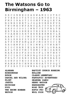 The Watsons Go to Birmingham – 1963 Word Search