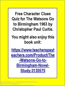 The Watsons Go to Birmingham Free Quiz