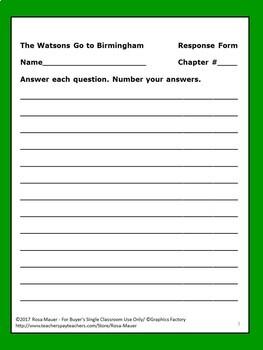 The Watsons Go to Birmingham Novel Study