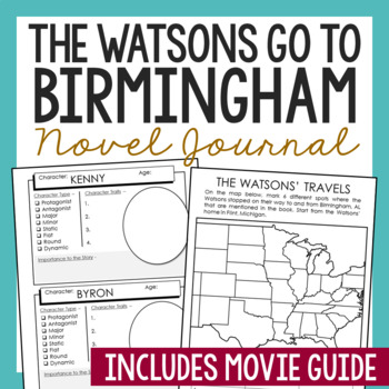The Watsons Go to Birmingham Novel Study Unit Activities, In 2 Formats