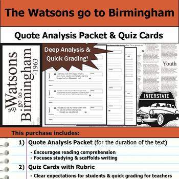 The Watsons Go to Birmingham - Quote Analysis & Reading Quizzes