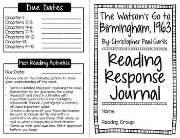 The Watson's Go to Birmingham Reading Response Journal