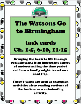 The Watsons Go to Birmingham Task Cards Bundle