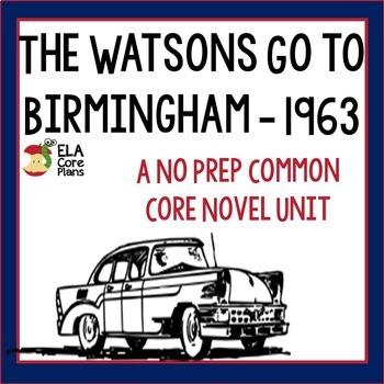 The Watsons Go to Birmingham Novel Unit ~ Activities, Handouts, Tests!