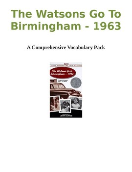 The Watsons Go to Birmingham - Vocabulary Pack