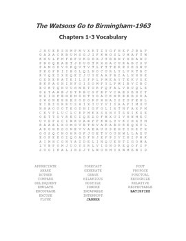 The Watsons Go to Birmingham Vocabulary Word Search Packet