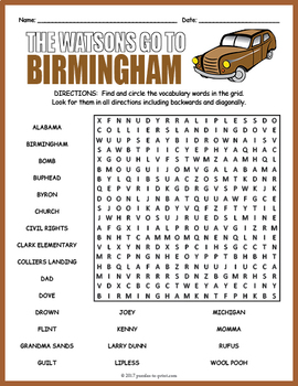the watsons go to birmingham word search by puzzles to print tpt. Black Bedroom Furniture Sets. Home Design Ideas