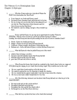 The Watsons Go to Birmingham - quiz on chapters 13-15
