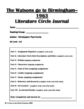 The Watsons go to Birmingham--1963 Literature Circle Journal Student Packet