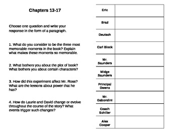 The Wave Reader Response Booklet and Character Chart