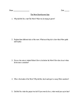 The Wave Short Answer Quiz