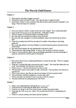 The Wave by Todd Strasser - Guided Reading Questions with Answers