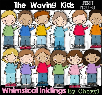 The Waving Kids Clipart Collection~Included Line Art