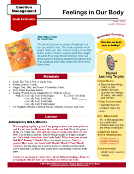 The Way I Feel - Feelings in Our Body - PreK-2 No Prep Lesson & Activities