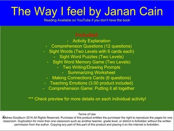 The Way I Feel by Janan Cain -Book Study, Comprehension Packet, Autism, Emotions