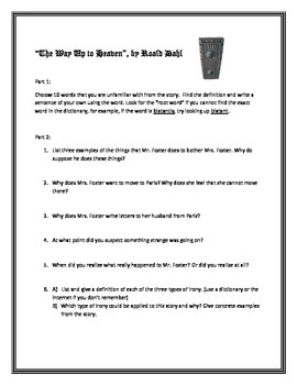 The Way Up to Heaven Short Story Activities