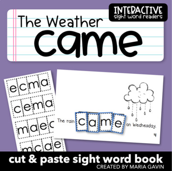 """Interactive Sight Word Reader """"The Weather Came"""""""