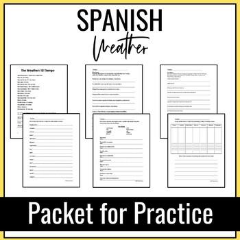 Spanish Weather Packet for Practice (El Tiempo), 7 Activities
