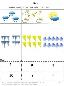 weather math literacy centers cut paste special education math