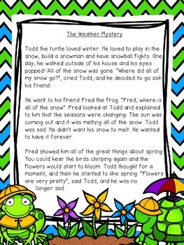 The Weather Mystery: A short reading passage with TRC comprehension questions