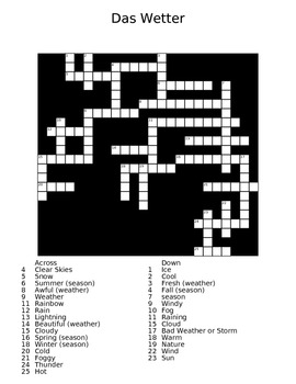 The Weather (das Wetter) German Crossword Puzzle with Answer Sheet